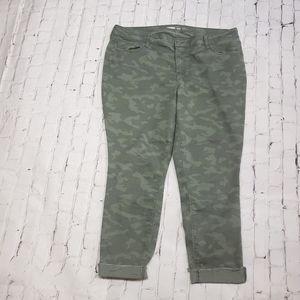Old Navy Rockstar Camo Cropped Ankle Super Skinny Jeans Raw Hem Stretchy